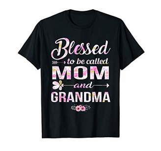 Womens Blessed To Be Called Mom And Grandma Shirt Mothers Da