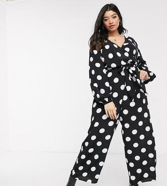 Asos DESIGN Curve wrap tie jumpsuit in mono spot print