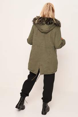 I SAW IT FIRST Khaki Fur Hood Parka Coat