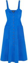 Saloni Fara Stretch-cotton Midi Dress - Blue