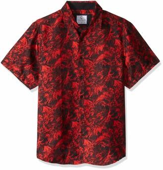 Azaro Uomo Men's Fit Short Sleeve Button Down Funky Hawaiian Style Casual