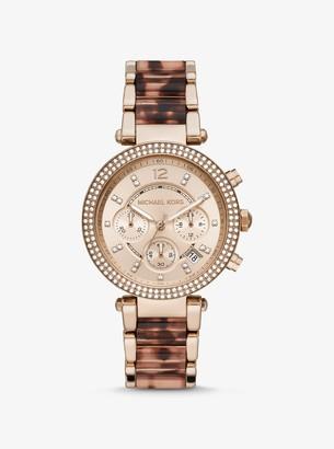 Michael Kors Oversized Parker Rose Gold-Tone Acetate Watch