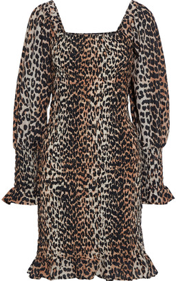 Ganni Shirred Leopard-print Cotton And Silk-blend Mini Dress