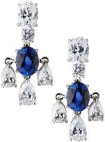 FANTASIA 18k White Gold 3-Pear Drop Earrings, Synthetic Sapphire