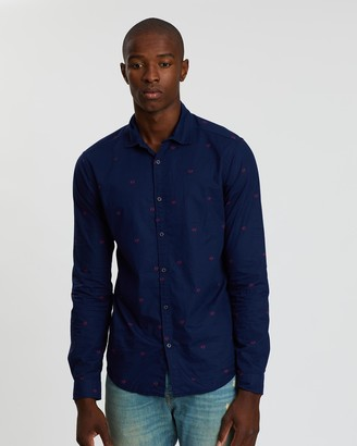 Scotch & Soda Slim Fit Crisp LS Shirt With Prints