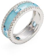 Amrapali 18K White Gold, Blue Topaz & 1.09 Total Ct. Diamond Eternity Band Ring