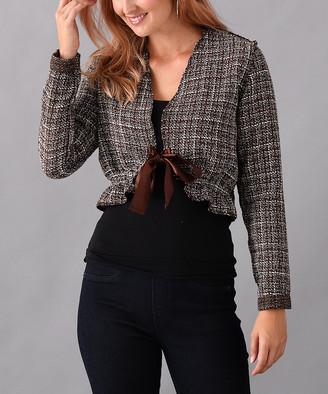 Elliott & Vine Women's Non-Denim Casual Jackets BROWN - Brown Tweed Crop Jacket - Women & Plus