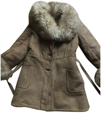 BEIGE Non Signe / Unsigned Shearling Coat for Women Vintage