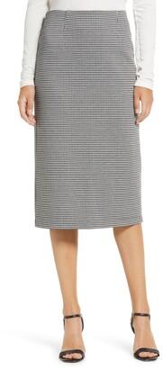 Halogen Houndstooth Ponte Pencil Skirt