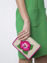 Yazbukey Embroidered flower patch flap closure clutch bag