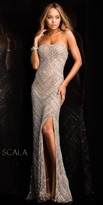 Scala High Slit Two Tone Evening Dress