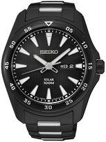 Seiko Mens Black Ion Solar Calendar Bracelet Watch SNE401