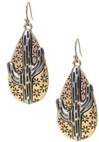 """Mia Two-Tone Silver-Tone on Gold-Tone Embossed Cactus on Stylized Floral Teardrop Dangle Earrings, 2"""" Long"""
