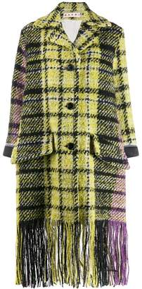 Marni plaid fringe coat