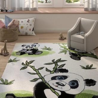 "Zoomie Kids Ketchum Panda Bamboo White/Black Area Rug Rug Size: Rectangle 6'5"" x 9'5"""