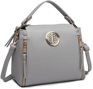 Miss Lulu Women Handbags Pu Leather Casual Travel Ladies Top Handle Crossbody Shoulder Messenger Bag (Grey)