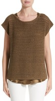 Lafayette 148 New York Women's Cashmere Open Stitch Sequin Sweater