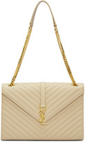 Saint Laurent Beige Large Monogram Satchel