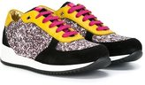 Dolce & Gabbana glitter panel sneakers - kids - Cotton/Calf Leather/Leather/rubber - 29