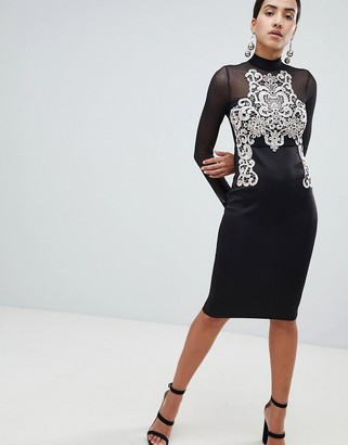 AX Paris Long Sleeve Bodycon Dress With Contrast Lace Detail