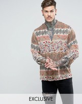 Reclaimed Vintage Inspired Overhead Paisley Shirt In Reg Fit