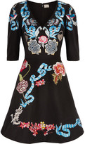Temperley London Sailor Embroidered Cotton And Silk-blend Faille Mini Dress - Black