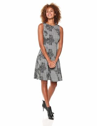 London Times Women's Sleeveless Round Neck Ponte FIT & Flare Dress