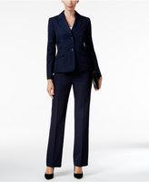 Le Suit Pinstriped Two-Button Pantsuit