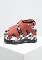 Proenza Schouler red / black / white checkerboard platform sandal