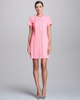 Christopher Kane Pleat-Front Short-Sleeve Dress