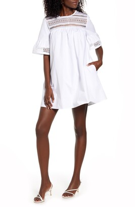 ENGLISH FACTORY Lace Trim Shift Dress