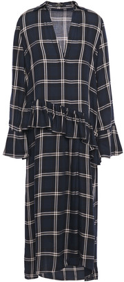 Mother of Pearl Alba Ruffle-trimmed Checked Twill Midi Dress