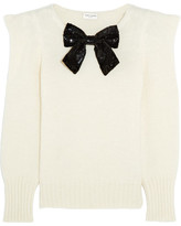 Saint Laurent Sequin Bow-embellished Knitted Sweater - Ivory
