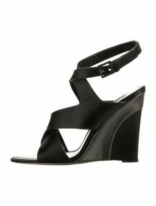 Louis Vuitton Satin Wedge Sandals Black