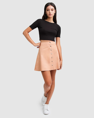 Belle & Bloom Into The Woods Leather Mini Skirt