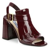 Prada Leather Kilt Block-Heel Sandals