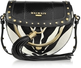 Balmain Domaine 18 Glove Ayers and Pony Hair Leather Crossbody Bag w/Pompon and Studs