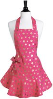 Jessie Steele 111-JS-261P Pink and Gold Retro Polka Dot Josephine Apron