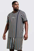 BoohooMAN Big & Tall MAN Stripe T-Shirt & Short Set