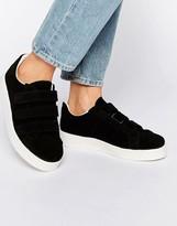 Pieces Siri Black Suede Velcro Sneakers