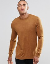 Asos Crew Neck Jumper In Tan Cotton
