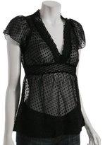 black swiss dot chiffon v-neck blouse