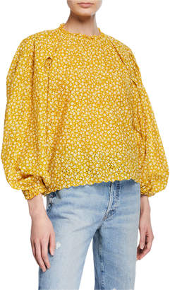 The Great The Chime Eyelet Floral Blouson-Sleeve Top