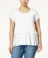 Style and Co. Plus Size Short-Sleeve Flounce-Hem Top, Created for Macy's