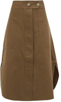 Lee Mathews Workroom Curved-hem Cotton Skirt - Khaki