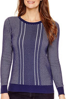 Liz Claiborne Long-Sleeve Double-Knit Sweater