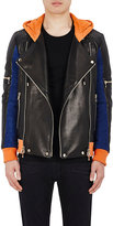 Balmain Men's Colorblocked Leather & Suede Hooded Moto Jacket