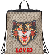 Gucci Angry Cat print soft GG Supreme drawstring backpack