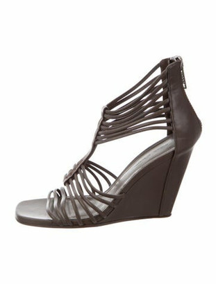 Rick Owens Leather Gladiator Sandals Grey