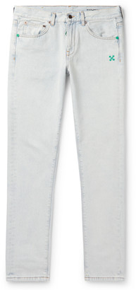 Off-White Off White Slim-Fit Bleached Denim Jeans